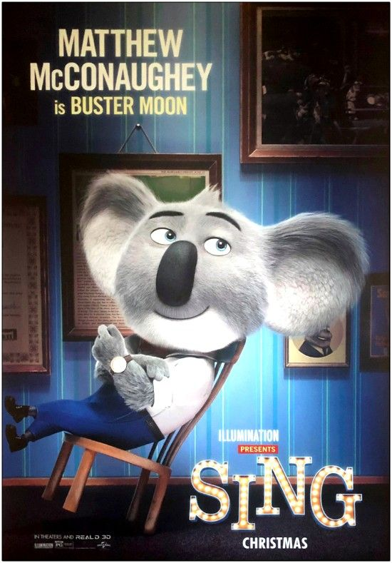 Sing - 2016 - Advance of Buster - M.McConaughey - Bus Stop Poster